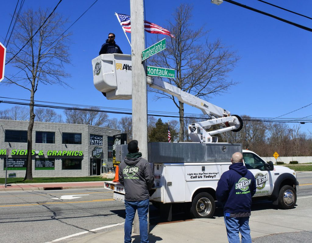 American flag install on Montauk Hwy - 10