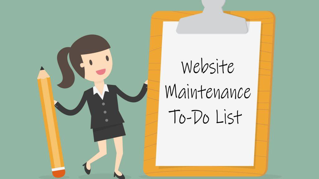website maintenance list